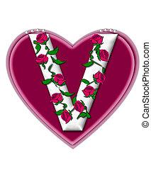 Alphabet Set Rosey Vine V - The letter V, in the alphabet...