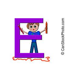 School Zone E - The letter E, in the alphabet set School...