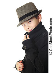 Boy with a hat - Young boy wearing a hat over white...