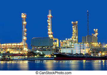 Coastal oil refineries. - Oil refinery at twilight, Chao...