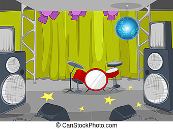 Rock&Roll Stage Cartoon - Rock&Roll Stage with Musical and...