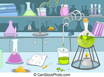 Chemical Laboratory. Cartoon Background. Vector Illustration...