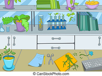 Chemical Laboratory Cartoon Background Vector Illustration...