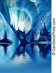 Subterranean Castles painting in wax