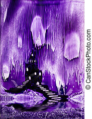 The Kings purple castle painting in wax