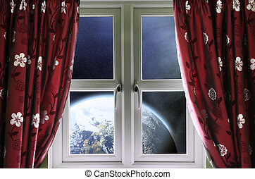 View of the Earth through a window