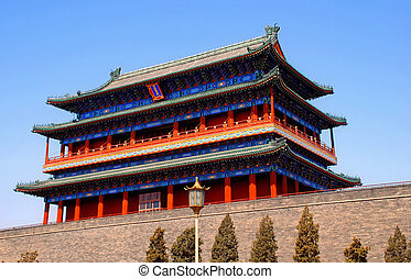 ancient Qianmen Gate in Forbidden City(Beijing, China) -...