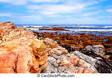 rocks and ocean near Cape of Good Hope(South Africa) -...