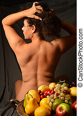Woman and Fruit - Woman with abundant amount of fruit