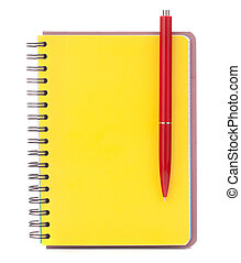 Yellow cover notebook with red pen isolated on white...