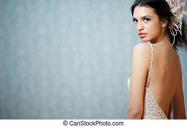 Landscape Composition of a Young Beautiful Bride