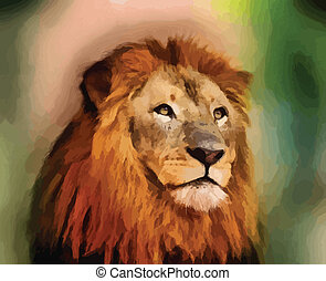 Royal King Lion Portrait Vector