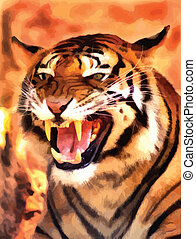 Angry Face Tiger Portrait Vector - Picture of a Very Angry...