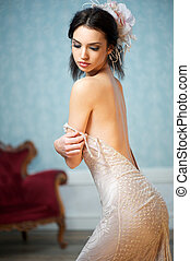 Melancholic Beautful Young Bride - A young female adult is...