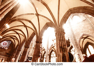 Interior of the Freiburg Muenster - Interior of the Freiburg...