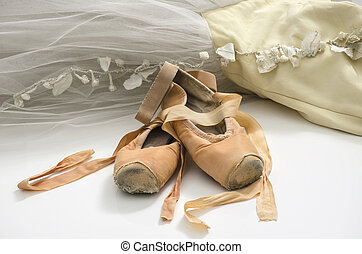 Tutu with ballet shoes - Ballet dress and an old pair of...