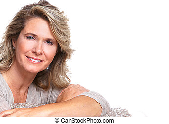 Happy senior woman. - Happy senior woman portrait. Isolated...
