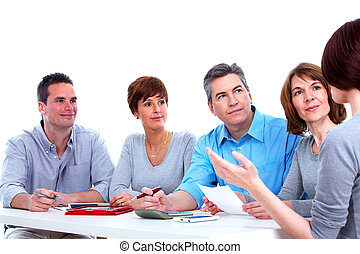 Group of business people working. Isolated on white...
