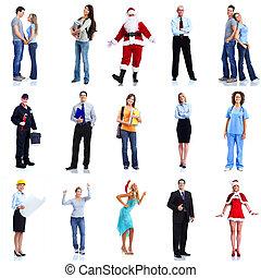 労働者, グループ, セット, 人々