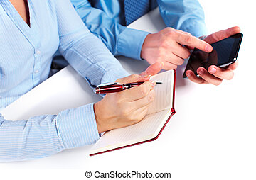 Hands of business person. - Hands of business person working...