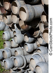 Irrigation pipes - Stack of zinc Irrigation pipes with quick...