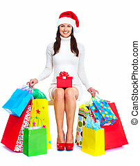 Beautiful Christmas Shopping woman.