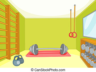 Gym Room with Trainers Vector Cartoon Background EPS 10