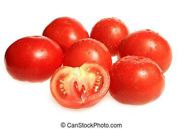 tomat, frisk, röd