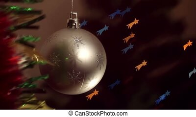 Christmas-tree decorations on starshaped background