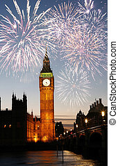 Fireworks over Big Ben seen from Parliament Square, at Night...