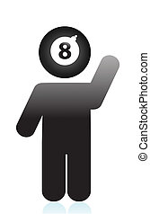 eight ball head icon illustration design over white