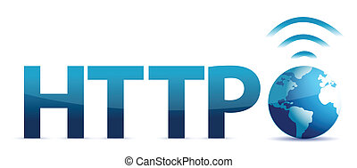 http and globe illustration design over a white background