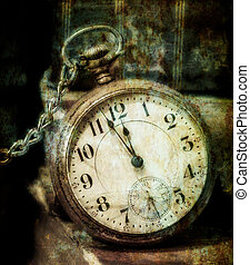 Old Pocket Watch Grungy Style - Antique pocket clock showing...
