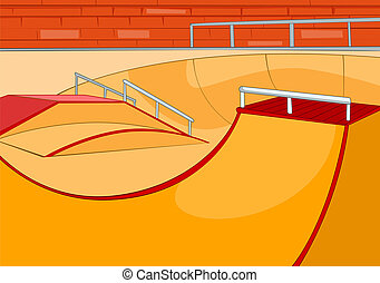 Skate Ramp. Cartoon Background. Vector Illustration EPS 10.