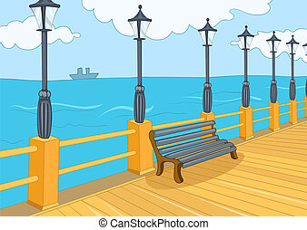 Seafront Harbor. Cartoon Background. Vector Illustration EPS...