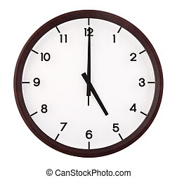 Classic analog clock pointing at 5 o'clock, isolated on...