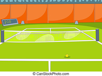 Tennis Court. Vector Illustration. Cartoon Background. EPS...