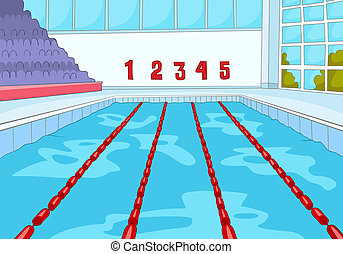 Swimming Pool. Cartoon Background. Vector Illustration EPS...