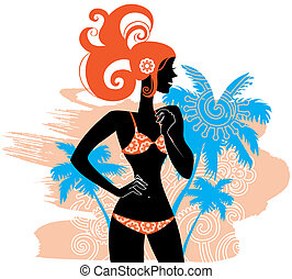 Summer background with woman?s silhouette
