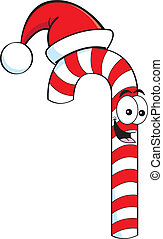 Cartoon candy cane wearing a Santa - Cartoon illustration of...