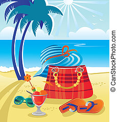 Summer objects on beach background