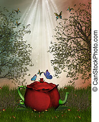 Fantasy Landscape in the garden with teapot and butterflies