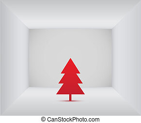 Red christmas tree in the room