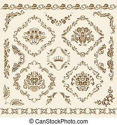 Set of vector damask ornaments. Floral elements, borders,...