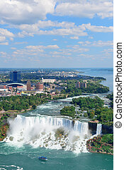 Niagara Falls closeup in the day over river with buildings