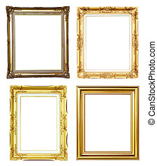 4 golden frame on white background