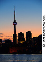 Toronto silhouette - Toronto city skyline silhouette at...