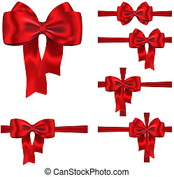 Gift ribbon and bow set - Set of red ribbons with luxurious...