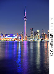 Toronto skyline - Toronto sunset over lake panorama with...