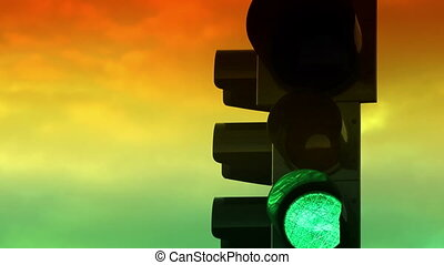 Traffic light with colorful sky timelapse on a background